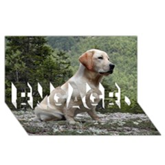 Yellow Lab Sitting ENGAGED 3D Greeting Card (8x4)