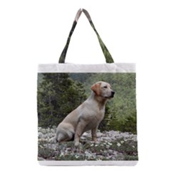 Yellow Lab Sitting Grocery Tote Bags