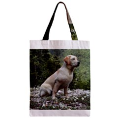 Yellow Lab Sitting Zipper Classic Tote Bags
