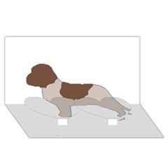 Lagotto Romagnolo Silo Color Twin Heart Bottom 3D Greeting Card (8x4)