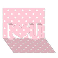 Pink Polka Dots I Love You 3D Greeting Card (7x5)