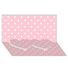 Pink Polka Dots Twin Heart Bottom 3D Greeting Card (8x4)