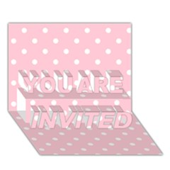 Pink Polka Dots YOU ARE INVITED 3D Greeting Card (7x5)