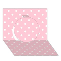 Pink Polka Dots Circle 3D Greeting Card (7x5)