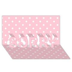 Pink Polka Dots SORRY 3D Greeting Card (8x4)