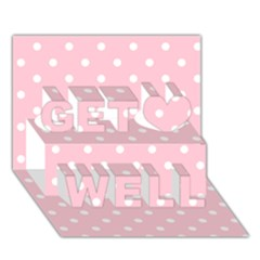 Pink Polka Dots Get Well 3D Greeting Card (7x5)