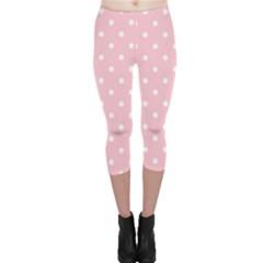 Pink Polka Dots Capri Leggings