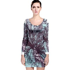 Under Tree Paint Long Sleeve Bodycon Dresses