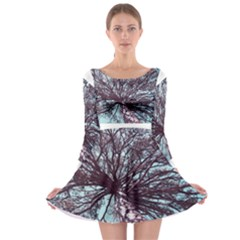 Under Tree Paint Long Sleeve Skater Dress