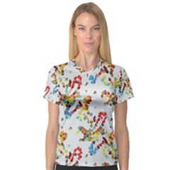 Colorful Paint Strokes Women s V Neck Sport Mesh Tee