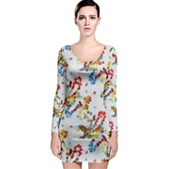 Colorful paint strokes Long Sleeve Bodycon Dress