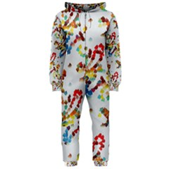 Colorful Paint Strokes Hooded Onepiece Jumpsuit