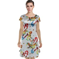 Colorful paint strokes Cap Sleeve Nightdress
