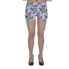Colorful Paint Strokes Skinny Shorts