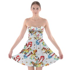 Colorful Paint Strokes strapless Bra Top Dress