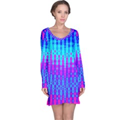Melting Blues And Pinks Long Sleeve Nightdresses