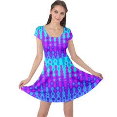 Melting Blues and Pinks Cap Sleeve Dresses