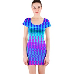 Melting Blues and Pinks Short Sleeve Bodycon Dresses
