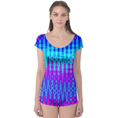 Melting Blues and Pinks Short Sleeve Leotard