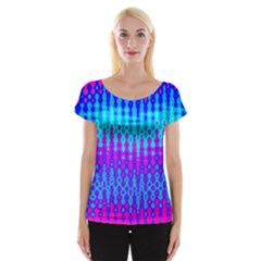 Melting Blues And Pinks Women s Cap Sleeve Top