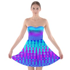 Melting Blues and Pinks Strapless Bra Top Dress