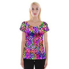 Swirly Twirly Colors Women s Cap Sleeve Top