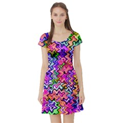 Swirly Twirly Colors Short Sleeve Skater Dresses