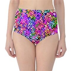 Swirly Twirly Colors High-Waist Bikini Bottoms