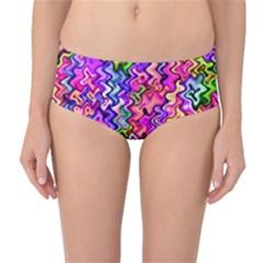 Swirly Twirly Colors Mid Waist Bikini Bottoms