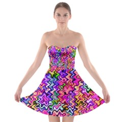 Swirly Twirly Colors Strapless Bra Top Dress