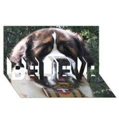 St Bernard BELIEVE 3D Greeting Card (8x4)