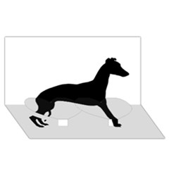 Whippet Silhouette Twin Heart Bottom 3D Greeting Card (8x4)