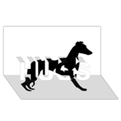Whippet Silhouette HUGS 3D Greeting Card (8x4)