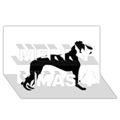 Whippet Silhouette Merry Xmas 3D Greeting Card (8x4)