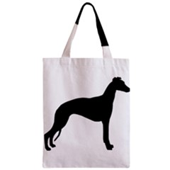 Whippet Silhouette Zipper Classic Tote Bags