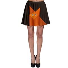Dark Cute Origami Fox Skater Skirt