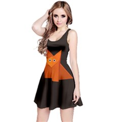 Dark Cute Origami Fox Reversible Sleeveless Dress