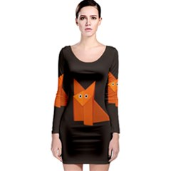 Dark Cute Origami Fox Long Sleeve Bodycon Dresses