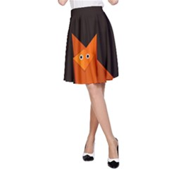 Dark Cute Origami Fox A-Line Skirts