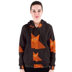 Dark Cute Origami Fox Women s Zipper Hoodies