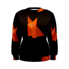 Dark Cute Origami Fox Women s Sweatshirts