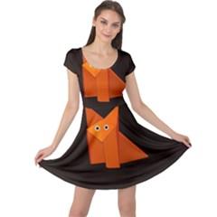 Dark Cute Origami Fox Cap Sleeve Dresses