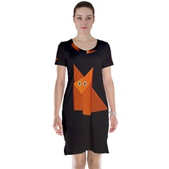 Dark Cute Origami Fox Short Sleeve Nightdresses
