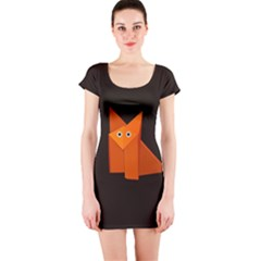 Dark Cute Origami Fox Short Sleeve Bodycon Dresses