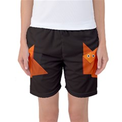Dark Cute Origami Fox Women s Basketball Shorts