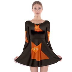 Dark Cute Origami Fox Long Sleeve Skater Dress