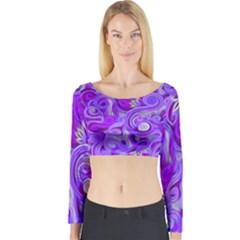 Lavender Swirls Long Sleeve Crop Top