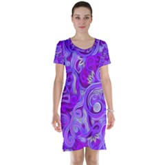 Lavender Swirls Short Sleeve Nightdresses