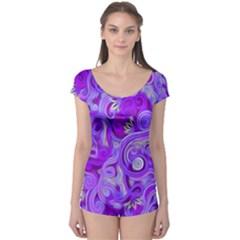 Lavender Swirls Short Sleeve Leotard