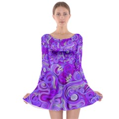 Lavender Swirls Long Sleeve Skater Dress